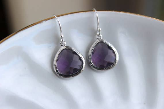 Laalee Jewelry - Silver Amethyst Earrings Purple Glass 8998