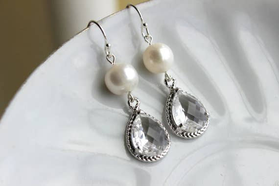 Laalee Jewelry - Freshwater Pearl Crystal Earrings