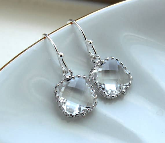 Laalee Jewelry - Dainty Small Silver Crystal Earrings 7118