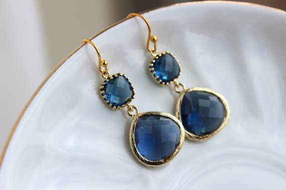 Gold Large Sapphire Earrings Navy Blue