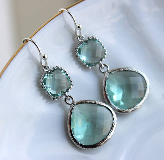Laalee Jewelry - Silver Large Prasiolite Green Earrings