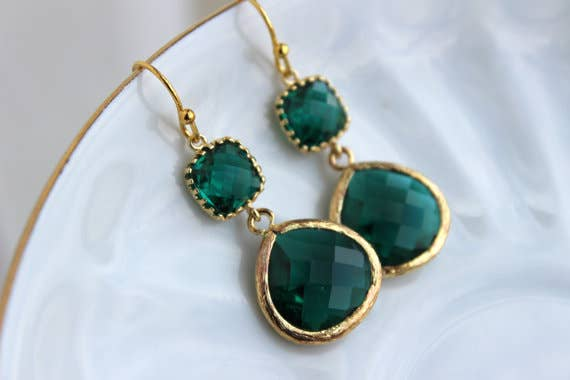 Gold Large Emerald 2 Green Earrings 8006