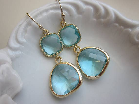 Laalee Jewelry - Aquamarine Earrings Gold Two Tier 7114