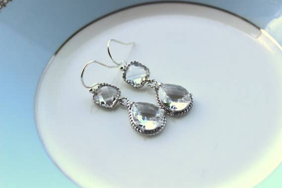 Laalee Jewelry - Silver Clear Earrings Crystal 7128