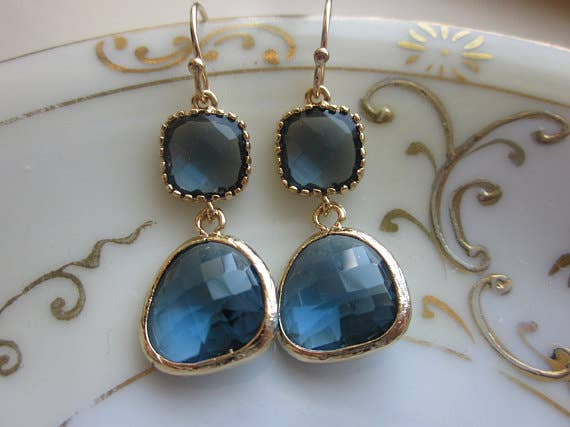 Navy Blue Earrings Sapphire Gold 9004