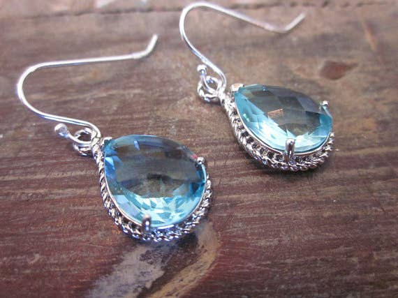 Laalee Jewelry - Aquamarine Earrings Silver 7115