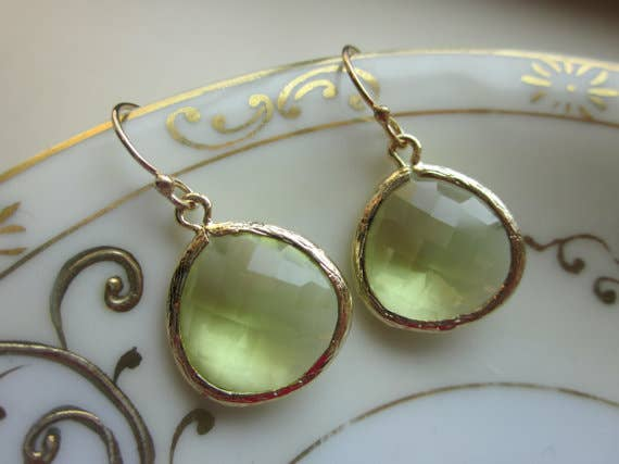 Laalee Jewelry - Large Peridot Earrings Gold Plated 7119