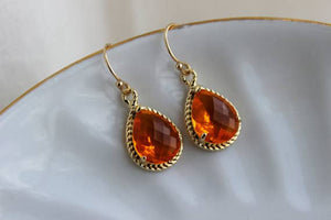 Laalee Jewelry - Burnt Orange Earrings Amber Gold Jewelry