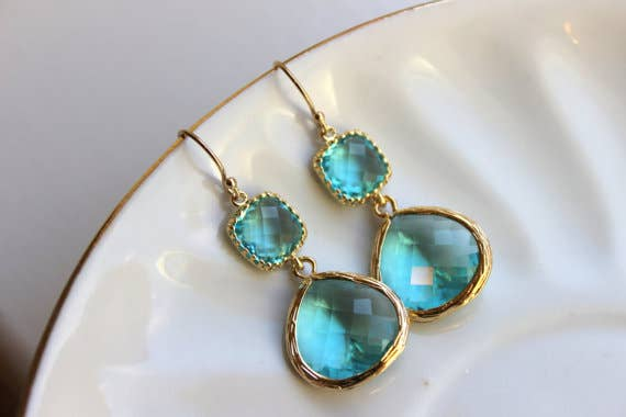 Large Gold Aquamarine 2 Stone Earrings 8004