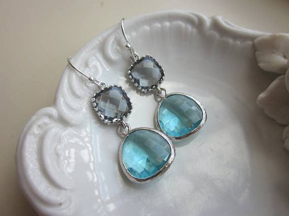 Laalee Jewelry - Silver Charcoal Gray Earrings 7127