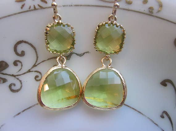 Peridot Earrings Green Apple Two Tier 7121
