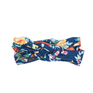 Headbands of Hope - Floral Orange Navy Infinity Turban