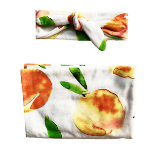 Headbands of Hope - Baby Swaddle Set Sweet As A Peach