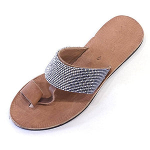 Swahili Coast - Hibiscus Silver and Slate Ombre Sandal Size 8