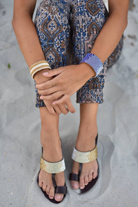 Swahili Coast - Hibiscus White and Gold Ombre Sandal