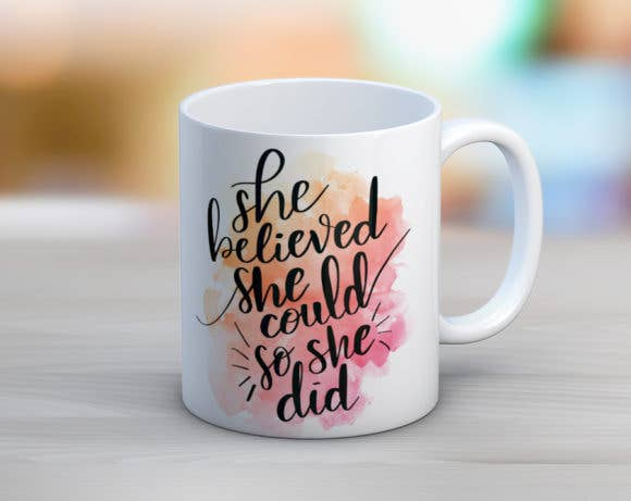Quotable Life - She Believed Watercolor Coffee Mug