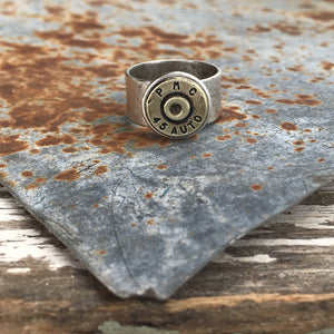 Buffalo Girls Salvage - Adjustable Wide Band Bullet Ring - Antique Silver