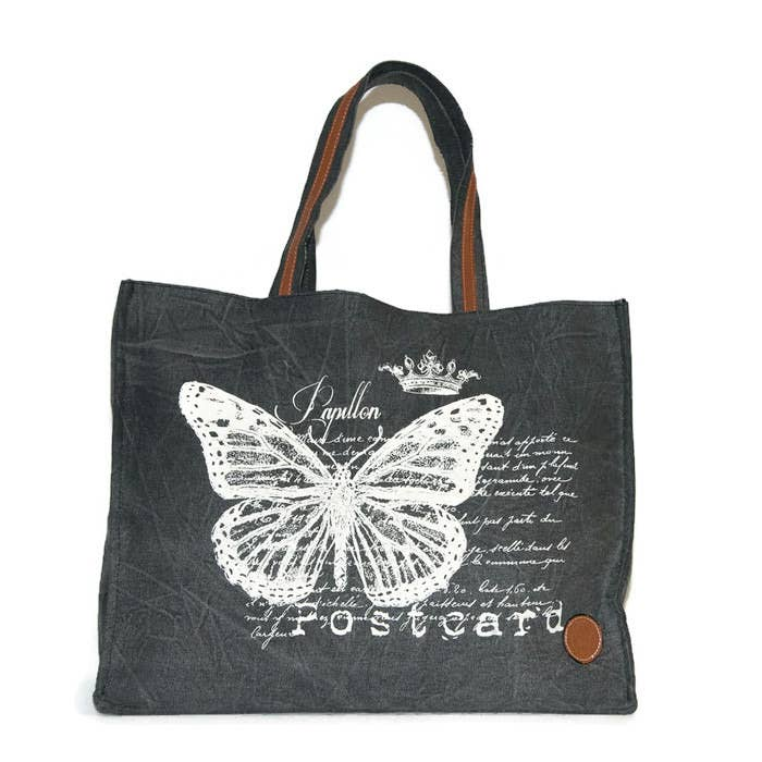 Le Papillon - Black Papillon Tote Bag