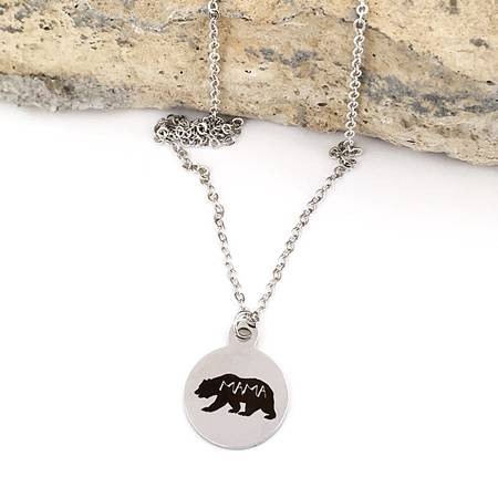 Buffalo Girls Salvage - Mama Bear Silver Laser Necklace - Mother's Day Gifts