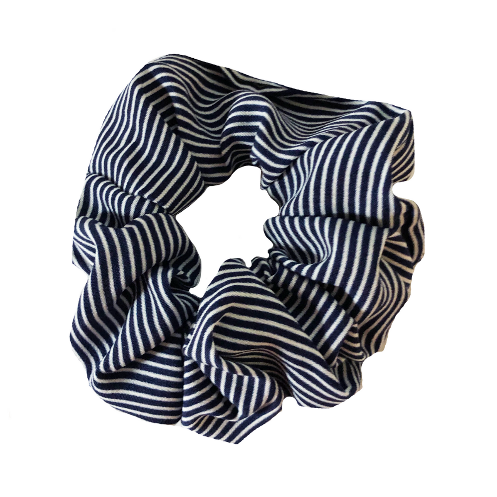 Headbands of Hope - Navy & White Striped Scrunchie