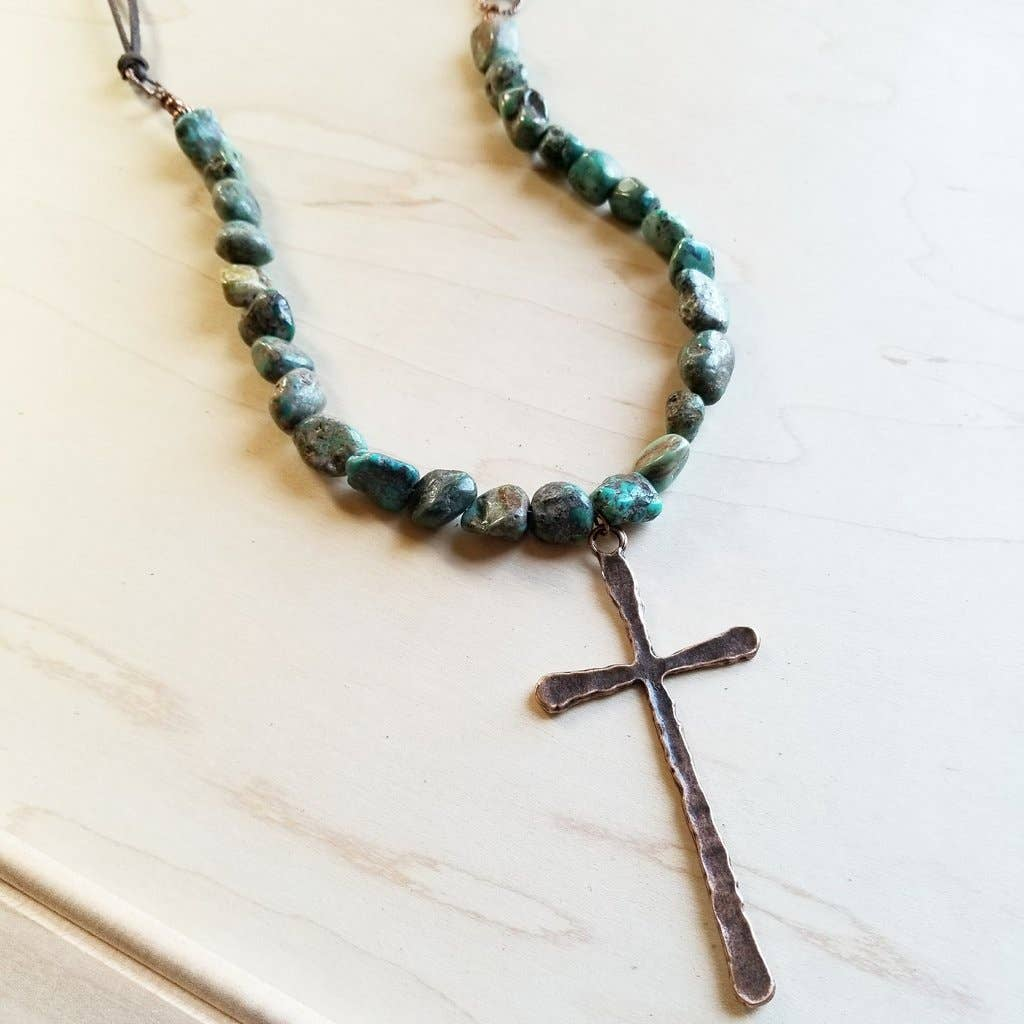 African Turquoise Necklace with Copper Cross Pendant
