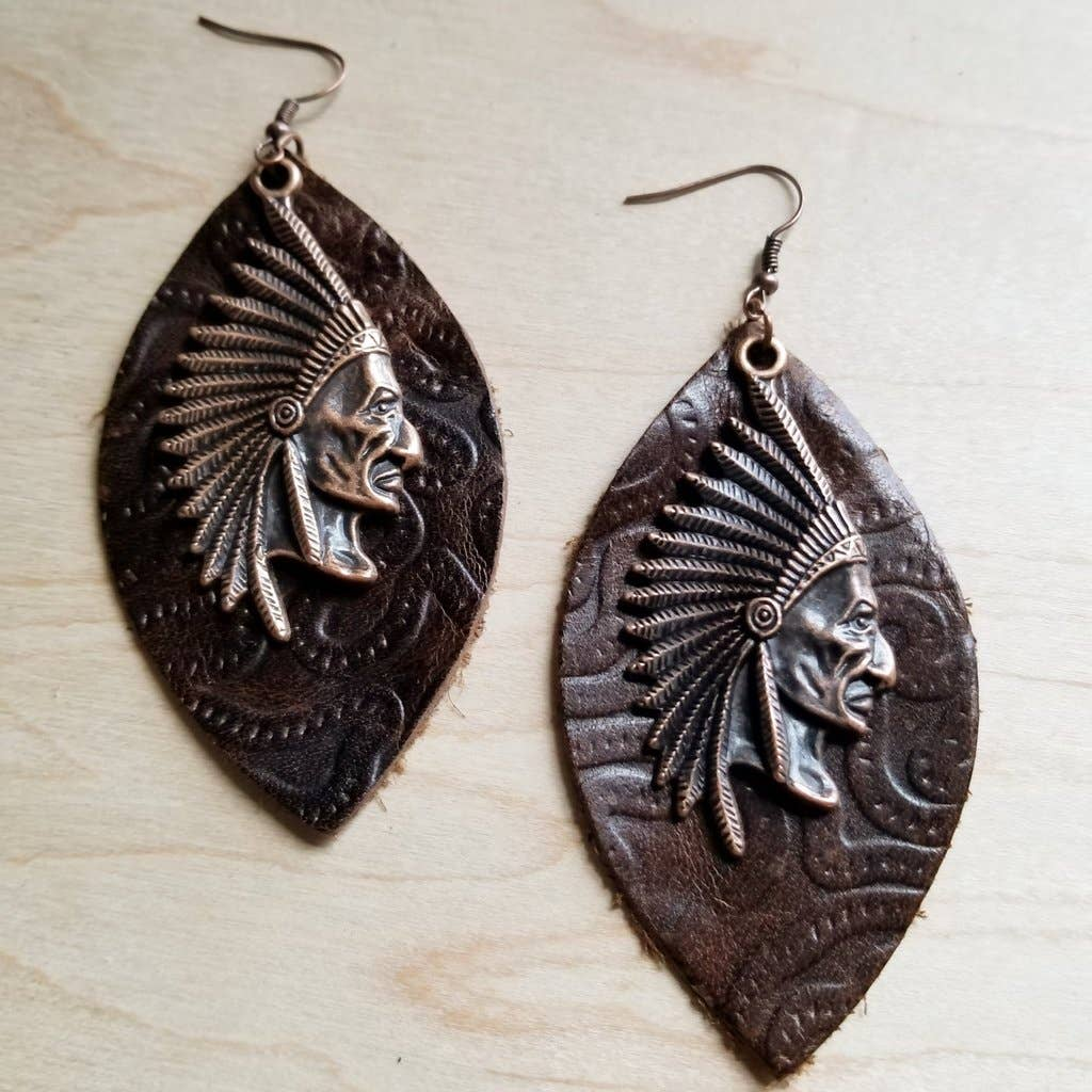 Leather Oval Earrings in Brown Leather with Indian Head