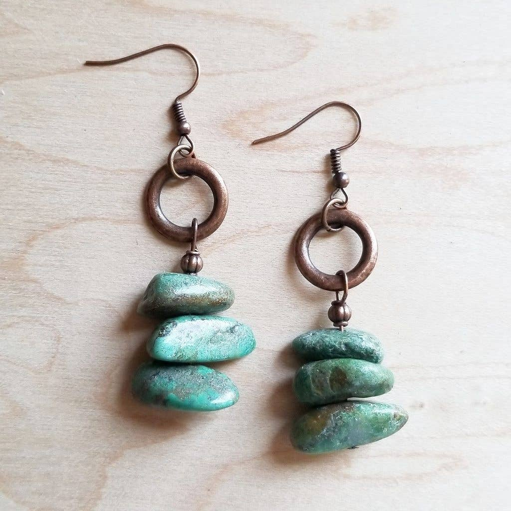 The Jewelry Junkie - Natural Turquoise Stacked Gemstone Earrings