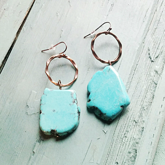 Blue Turquoise Chunky Earrings