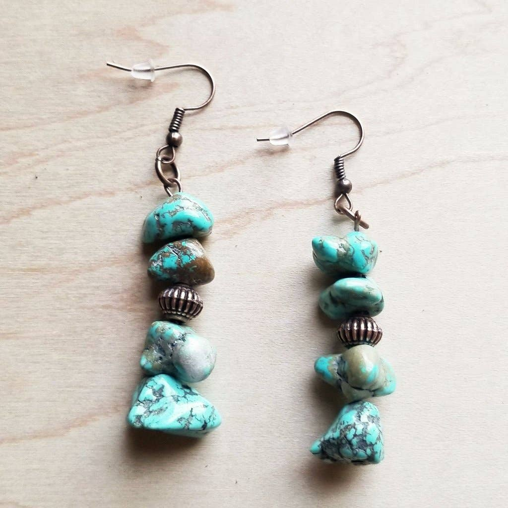 Stacked Turquoise and Copper Earrings