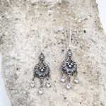 Buffalo Girls Salvage - Antique Silver Crystal Chandelier Earrings