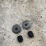 Buffalo Girls Salvage - Antique Silver Vintage Swarovski Black Crystal Earrings