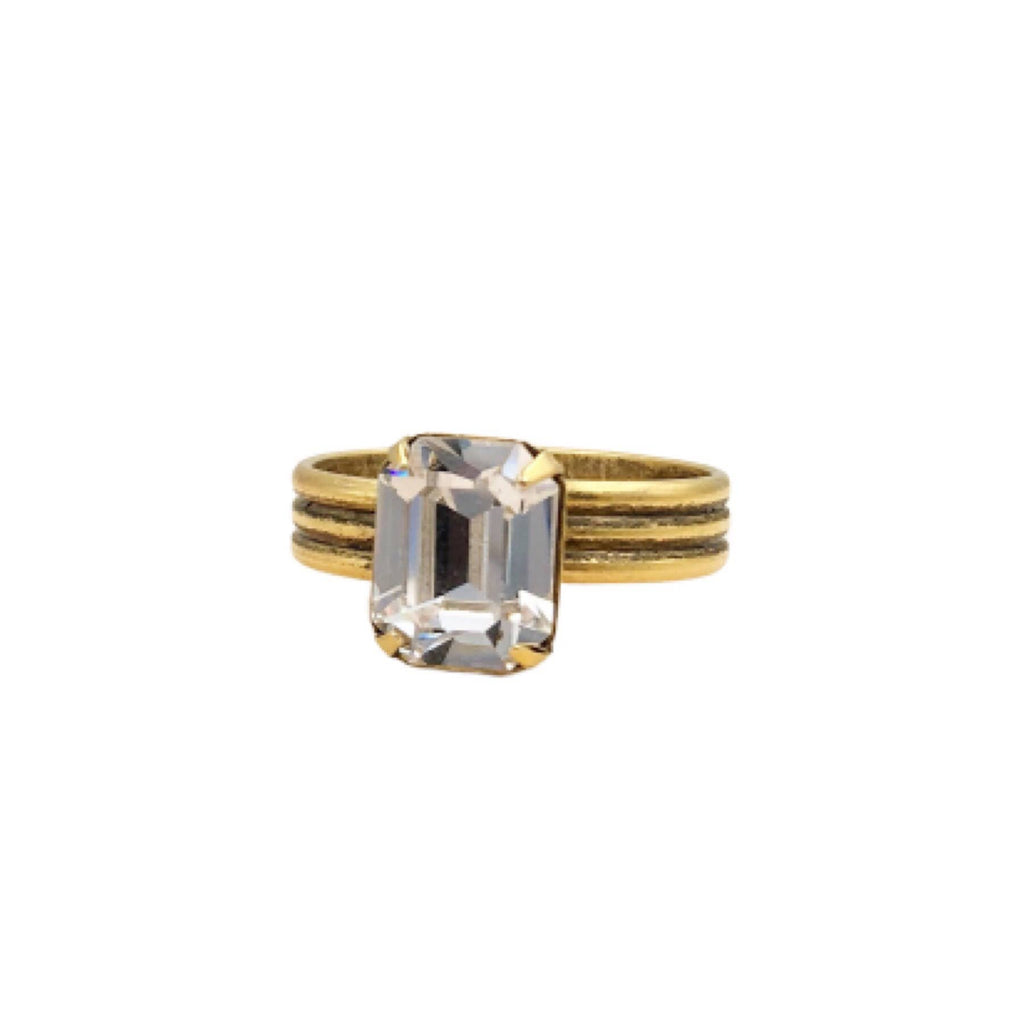 Buffalo Girls Salvage - Clear Swarovski Crystal Gold Ring