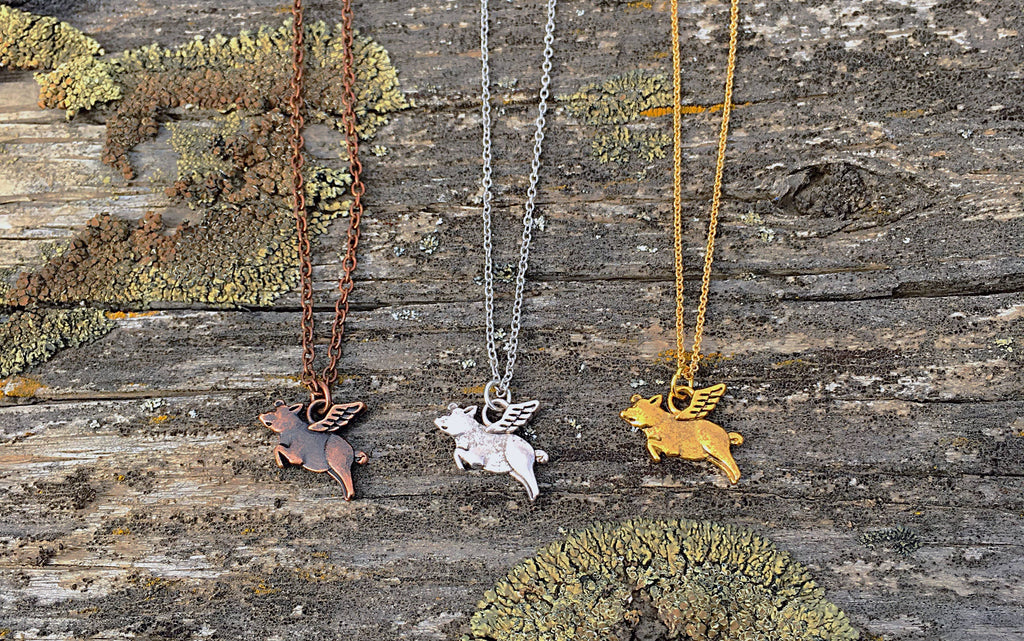 Buffalo Girls Salvage - When Pigs Fly Necklace - copper - silver - gold