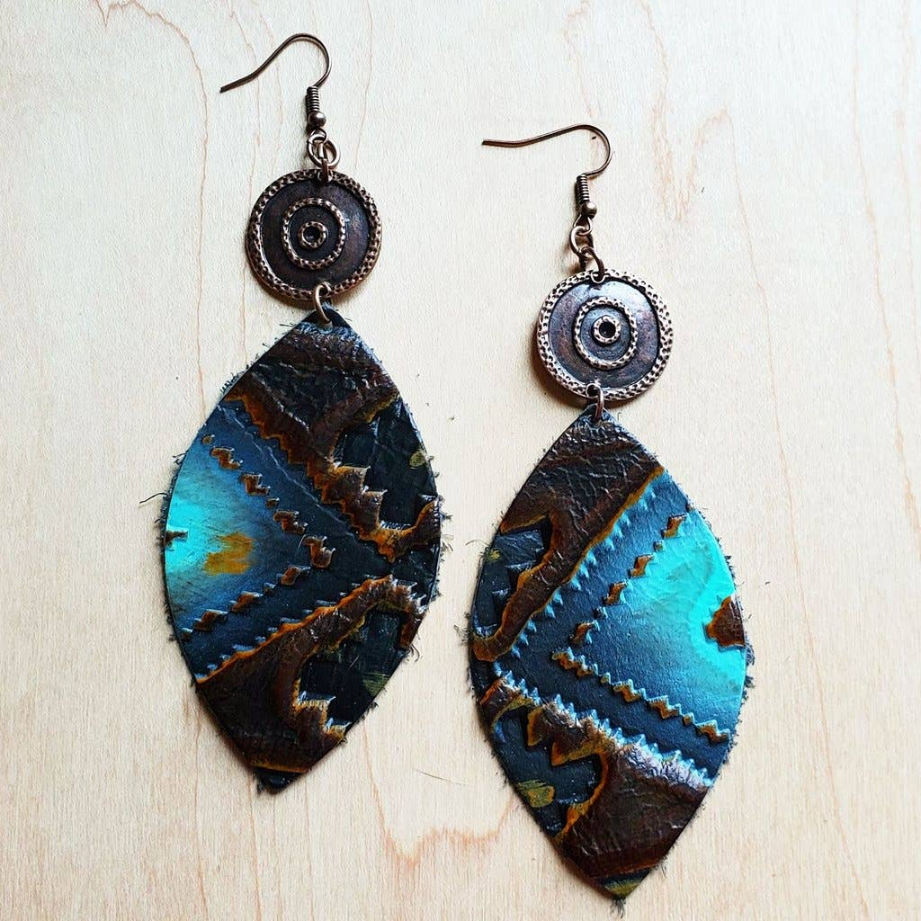 Leather Oval Earrings in Blue Navajo w/ Copper Discs