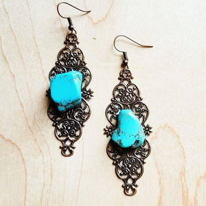 Filigree with Turquoise Slabs Earrings