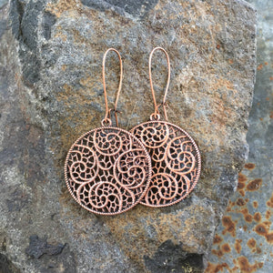 Buffalo Girls Salvage - Circle Filigree Lace Earrings - copper or silver