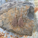 Buffalo Girls Salvage - Teardrop Filigree Lace Earrings - Copper or Silver