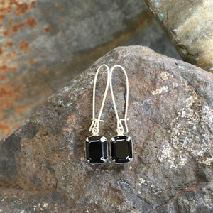 Buffalo Girls Salvage - Black Vintage Swarovski Crystal Earrings