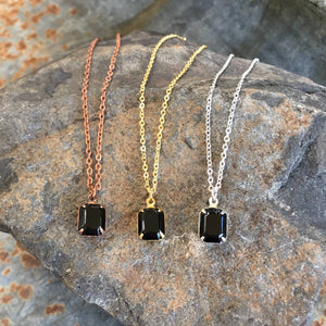 Buffalo Girls Salvage - Black Vintage Swarovski Crystal Necklace