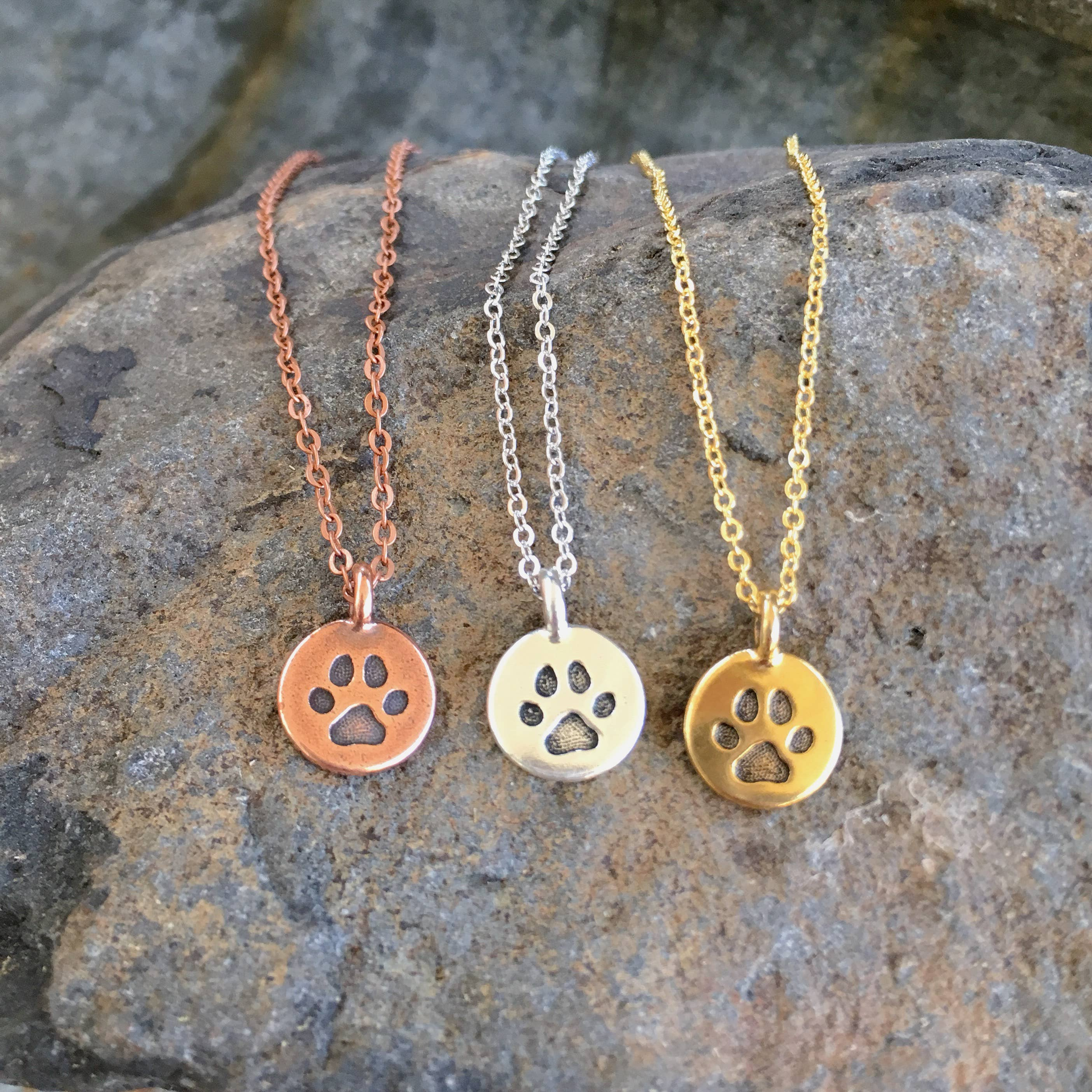 Buffalo Girls Salvage - Paw Print Necklace - silver, copper, gold - dog jewelry