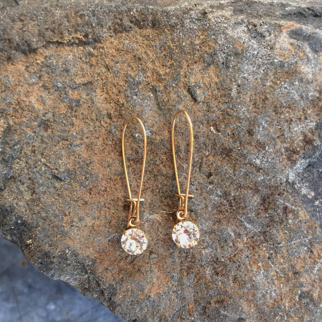 Buffalo Girls Salvage - Simple Solitaire Gold Earrings