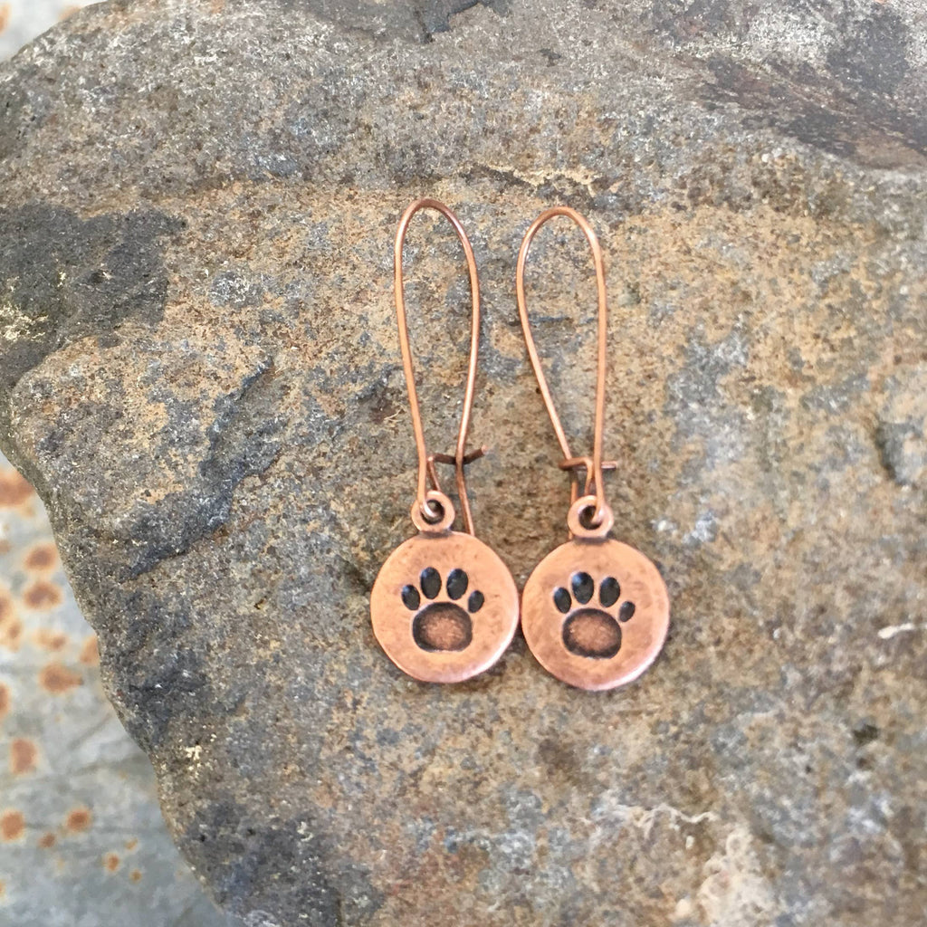 Buffalo Girls Salvage - Paw Print Hand Stamped Earrings