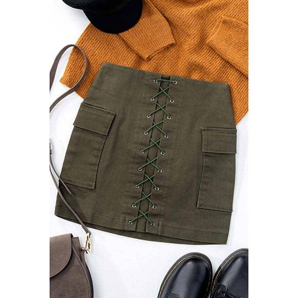 Olive SOLID LACE UP MINI SKIRT W POCKETS