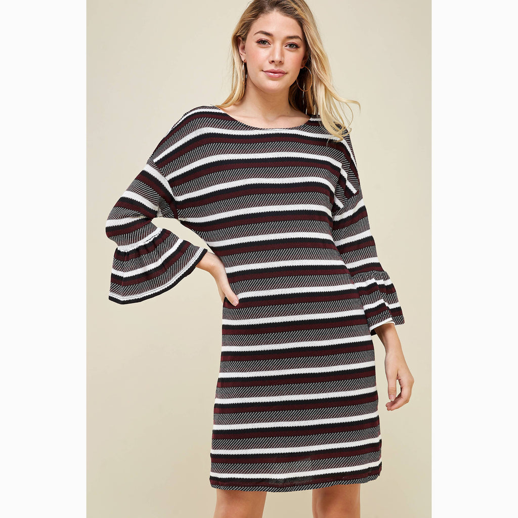 Winslow Collection - ROUND NECK MULTI STRIPE SWEATER DRESS WITH LONG SLEEVE