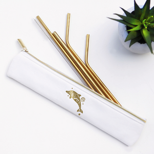 Last Straw - Gold Dolphin Straw Set Waterproof Lined Bag - 6 Pieces