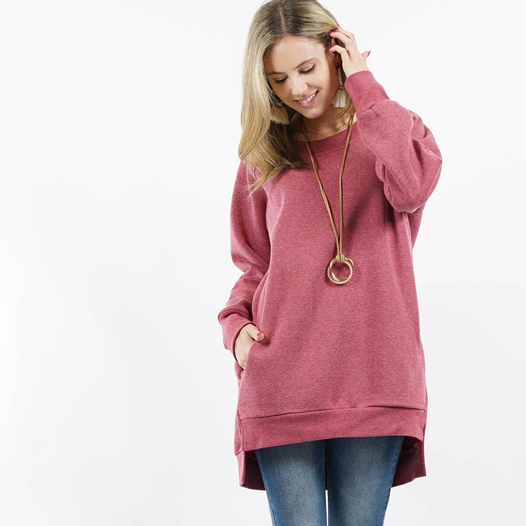 Heather Red Fleece Sweatshirt Pullover with Side-pockets