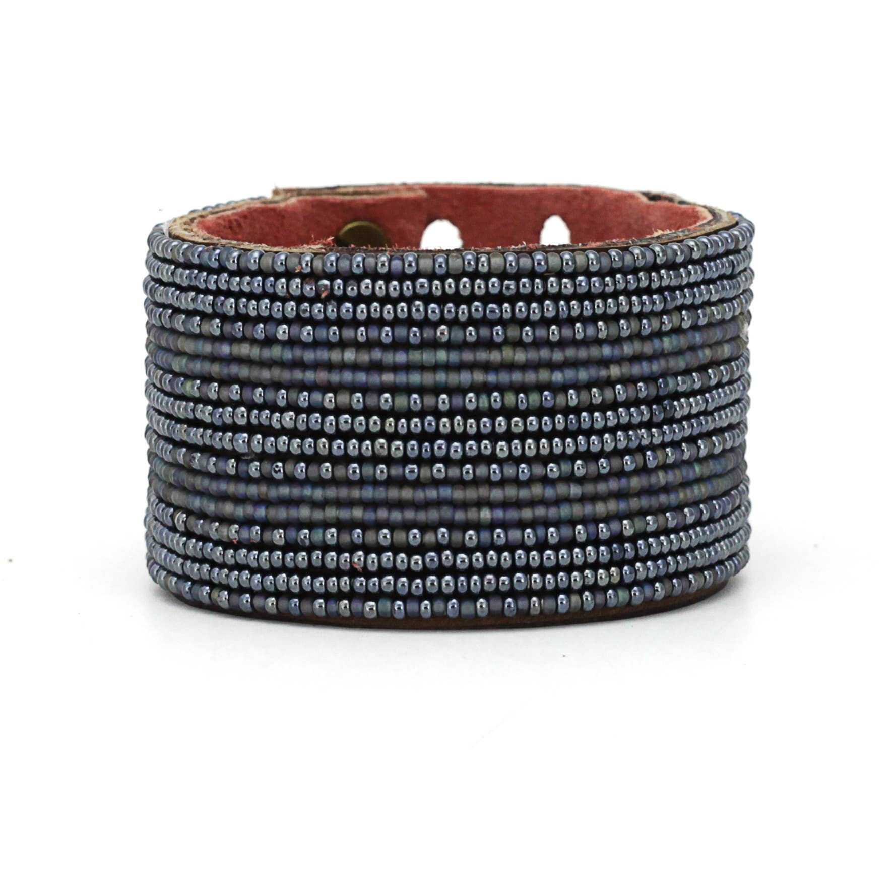 Swahili Coast - Large Slate and Grey Stripe Leather Cuff - Limited Edition