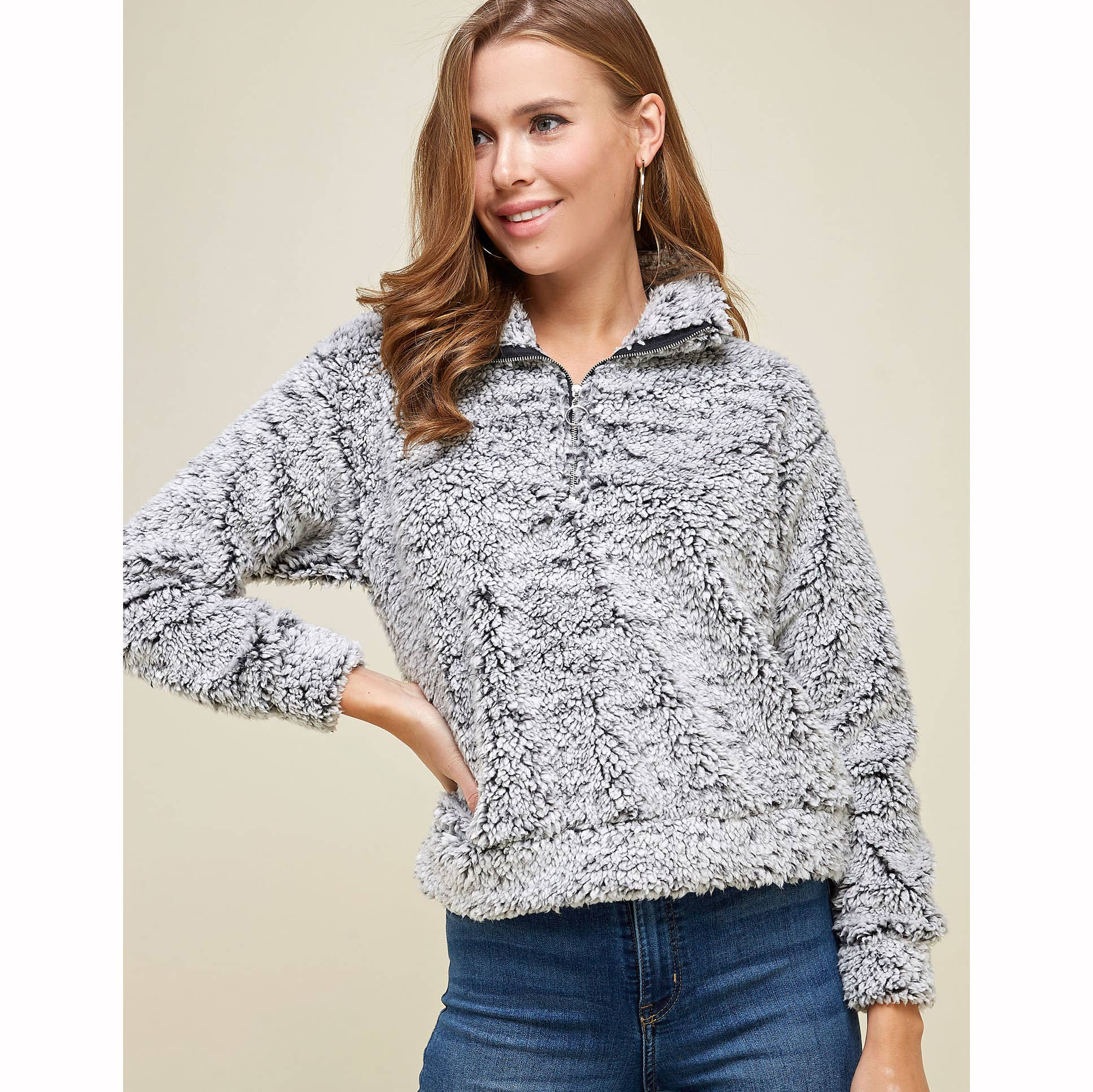 COZY GREY/BLACK LONG SLEEVE TEDDY BEAR ZIP PULLOVER