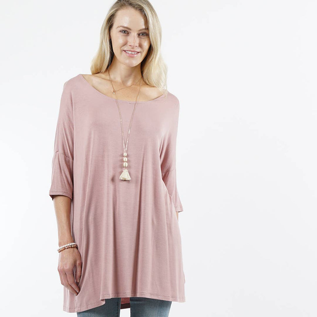 Active Collections - Elbow sleeve round-neck tunic