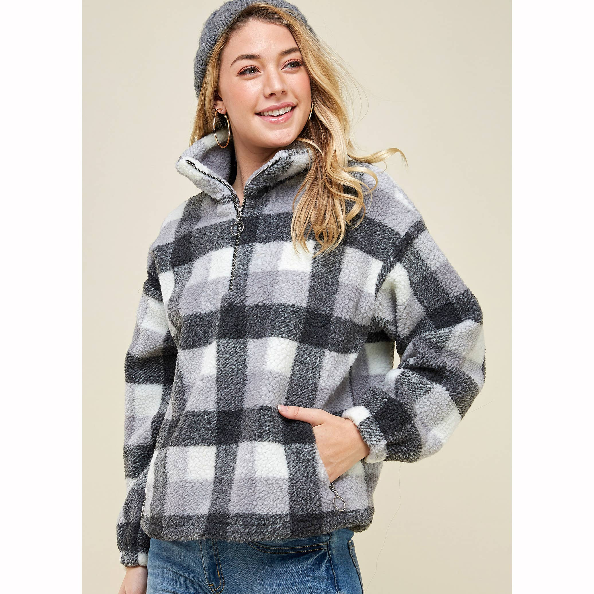 BLACK & GREY PLAID ZIP-UP HIGH NECK SWEATER
